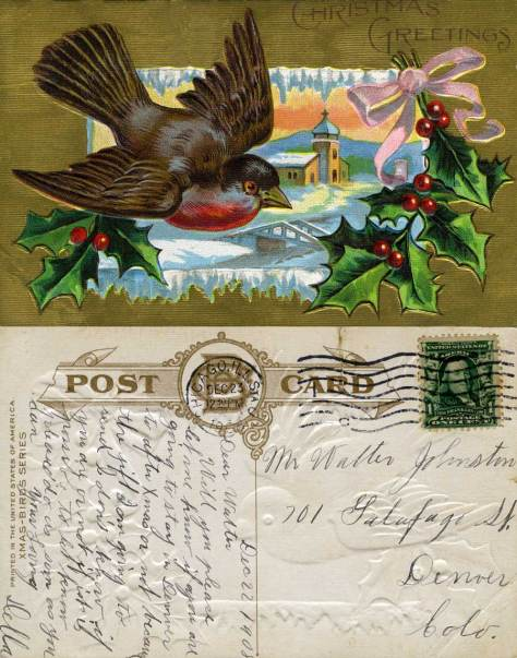 """""""Printed in America"""" it is date 1908, a year after such split cards were first allowed in the U.S.A. The producer identifies this as one of its """"Xmas-Birds Series."""""""