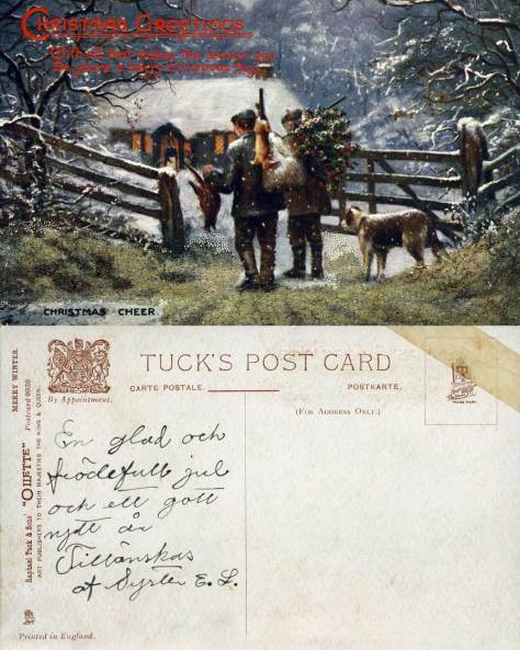 "Another Tuck's card this one, however, has been printed in England.  It is numbered ""Postcard 9936"" and named ""Oilette.""  What could be more cheery than waiting in the snow for one's man to return with a rabbit to skin and a pheasant to pluck."