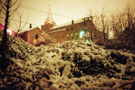 Looking from my bedroom window to Immanuel Lutheran Church on a snowing night of the 1977-78 winter.