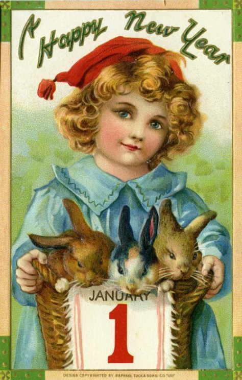 This lavishly cute and sentimental card is about a century old, as are most of those that follow.