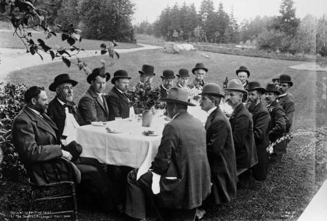 May 1, 1900.  City Council pauses at Volunteer Park.  R.H. Thomson is far right.  Wilse neg. 74x.