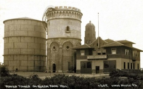 """Another early 20th Century """"Real Photo Postcard"""" by Oakes.  This on of both the Queen Anne standpipe (two of them) and Fire Station No. 8."""