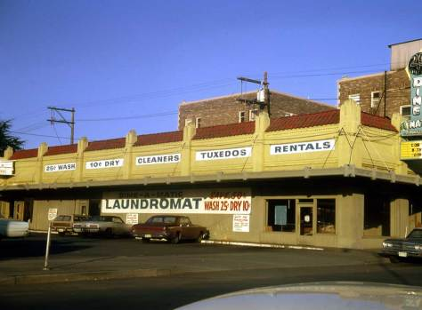 The coin laundry at Queen Anne Ave. & Republican on Feb. 8, 1974.  I was still cleaning my clothes at such vibrating places at this time and it was always a real pleasure to sit readings in the midst of those working machines.