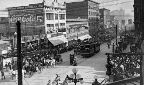 Although not taken from the same window as the view just shared above, this one is also most likely of the same AYPE parade for the Odd Fellows.  Note that most of the awnings shading the building on the east side of Second Avenue - the block showing - hold their position between the two photographs.  Most - not all.