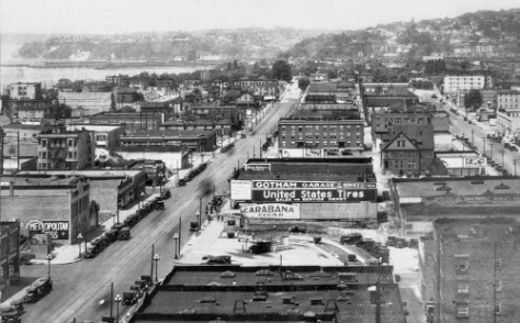 Sometime in the 1920s and most likely with a narrow lens looking north on Third from the Securities Bldg at 3rd and Stewart.   t