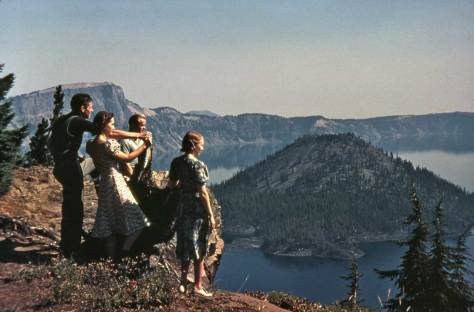At scene at Crater Lake Oregon.  By Horace Sykes ca. 1946.