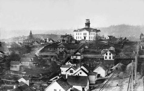 Looking up the draw (now the freeway route) between Sixth and Seventh Avenues from near Jefferson Street ca. 1886. Cherry street, bottom-left dips to the east making this photograph the best evidence for how much of First Hill between Sixth and Seventh and between Jefferson and Marion features a slight pause and regression in the climb of First Hill. There's a pedestrian trestle in there, and also road work on the Seventh Avenue, on the right.  Central School in the block bounded by Madison, Marion, Sixth and 7th Avenues was destroyed by fire in the spring of 1887.  This view may be compared to the next, which was taken later although not much later.  Note the McNaugth mansion to the left of the big fated school.  (Courtesy, Seattle Public Library)