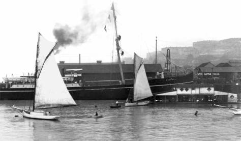 The Miike Maru tied to the south side of the Schwabacher Warf betwen Union and Pike Streets.  Courtesy, University of Washington Library's Special Collections sometimes called its Northwest Collection and other times generally its archive.