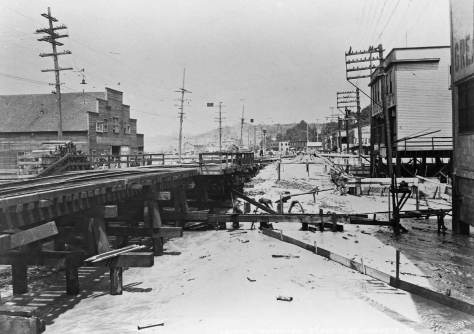 Taken from the trestle that reached 9th Ave. S. from the Great Western factory and looking north with the Salvation Army on the right - but not dated.  I suspect that the reclamation is already underway here and that the tidelands showing here are getting early flooding of salt water enriched with mud blasted further north from the sides of Beacon Hill.