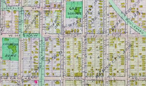 CROCKETT Street runs along the bottom of this detail from the 1912 Baist Real Estate Map.