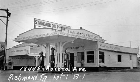 A Standard Oil station near Echo Lake - another tax photo from the late 1930s.  (Courtesy, Washington State Archive.)