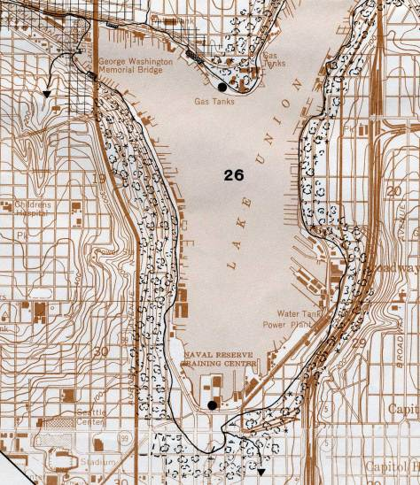 Shoreline changes on Lake Union, from a geography project of the Fed. Commerce Dept.  The project covered all the reclaimed shorelines hereabouts, and not just Lake Union's.