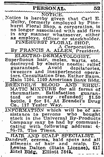 "Twenty-one years before his death notice Carl gets his first ""personal notice"" in Seattle Times for April 7, 1921."