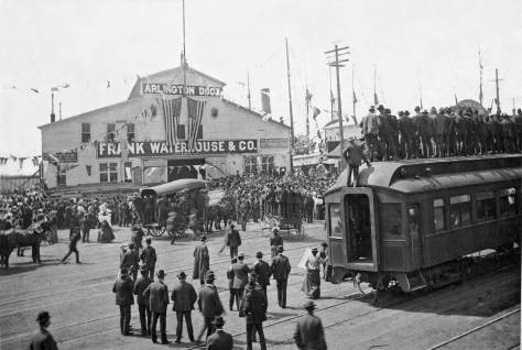 Pier 5 - now 56 - waits for the 1903 arrival of Theo Roosevelt on the waterfront.