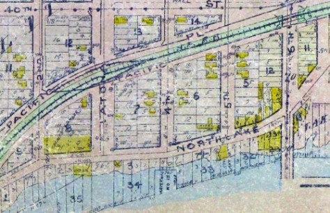 Getting more service from our oft-used Baist Real Estate Map of 1912.  Note the yellow footprint for the hotel on Northlake Ave. between 4th and 5th Avenues, on lots 8 and 9 of the Latona Addition's 6th block.