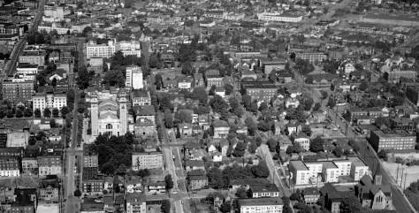 A 1905 Aerial of much of the First Hill neighborhood south of Madison Street.  Left of center is St. James Cathedral at the southeast corner of Marion and 9th Avenue.