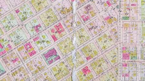 A page (another) from the 1912 Baist Real Estate Map - this one mutilated by wear and tear - means other than the penmanship of the photographer.  The Graystone's block 121 can be found upper-right.