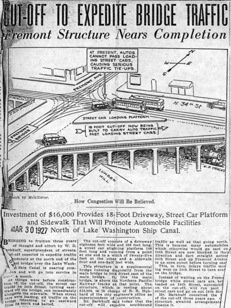 A 1927 clip showing and explaining the planned-for corner-cutting bridge at the southeast corner of 34th Street and Fremont Ave.