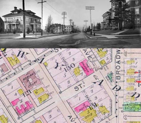 The Otis Hotel on the right - looking south on Summit.  Dr. Rininger's home on the left, the then future site for Rininger's own hospital and then in 1913 Swedish Hospital.  (see the clips soon below.)