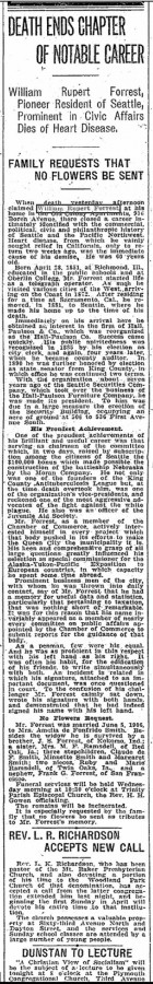 The obituary for William Rupert Forest in The Seattle Times on March 6, 1911.