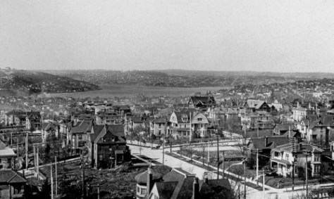 "A likely year for this look north towards Lake Union and the north end is 1906.  The Gas Works are being constructed on the ""Wallingford Peninsula"" and a the Vacant Lot, near the bottom, at the northwest corner of Madison and Terry waits yet for the 1907 construction of the Sorrento Hotel.  It seems possible - perhaps likely - that the photo was taken from the St. James construction site.  There is certainly plenty of searchable landmarks here - so many that one could give a generous part of one's life to identifying them all, and with the Seattle Times ""key word"" search opportunities thru the Seattle Public Library (merely with a library card) there are plenty of opportunities to learn about everything here - nearly.  The Backus mansion is here, as are the two Denny homes - still back-to-back."