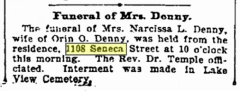 February 14, 1900 Funeral announcement for Narcissa Denny, who thereby barely outlived her father-in-law, Arthur Denny.