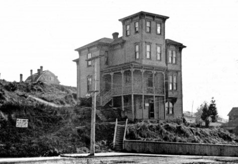 The Ward Home at its original posture or position at 1025 Pike Street some brief time before it was moved in 1906 by 90 degrees clockwise to face Boren Avenue.