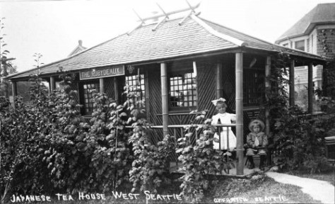 "Joseph ""Daddy"" Standley built this charming Japanese teahouse for his daughter Ruby in the back yard of Totem Place, the family's West Seattle home.  The posing children are not identified – a ""history's mystery."""