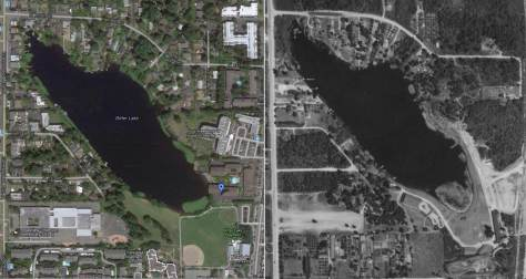 Bitter Lake recently from space, on the left, and on the right from high above Playland in 1936.  [We suggest that to study it you click it  - twice.]