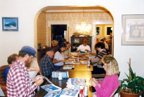 Campaign volunteers sort a mailer in the Nickels dining room. (Courtesy of Sharon and Greg Nickels)