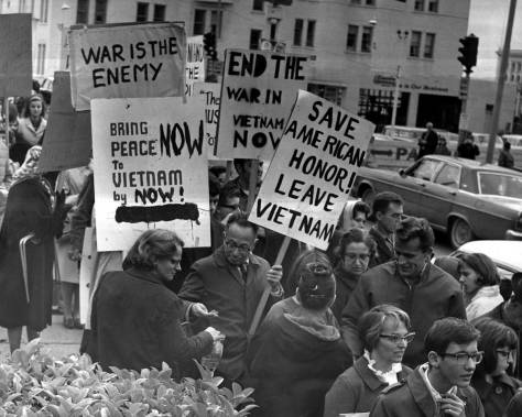 A young Walt at the bottom-right leaving a Viet-Nam protest at the Federal Court House, ca. 1966.
