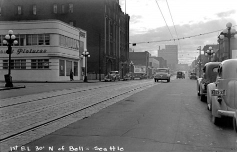 A subject chosen by the Foster and Kleiser  billboard proliferators in code.  The caption at the bottom refers to the billboard on block south on the east side of First, short of Bell Street.  The date is Sept. 24, 1940.