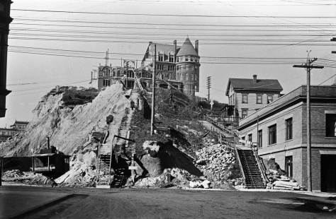 Later that year (1907) a remnant of the hotel, and the new Fire Station on the right.