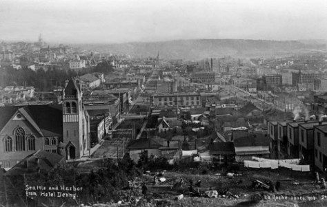 LaRoche's panorama of the city ca. 1890 taken from the still developing Denny Hill site of the Denny Hotel. (Courtesy, Special Collections, U.W. Libraries)