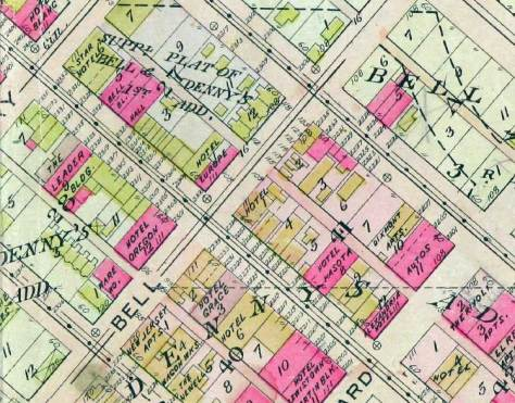 Our dear old stock map, the Baist from 1912, shows most of the corner southwest corner of Bell and First still in line with corner built-up by Rowe in the late 1880s.