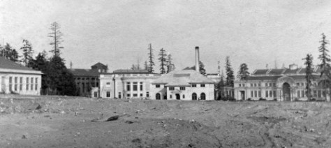AYP construction looking east to the rear of the Washington State Building, left of center, with a part of the Forestry Building showing behind and to the left of it.  The beau arts building on the right is the Oriental Building, one of the primary structures in the AYP's elegant centerpiece, the Arctic Circle.