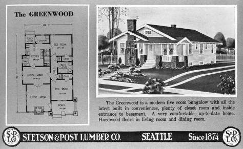 The Greenwood page from Stetson and Post's pattern book of typical home types to build with their lumber.