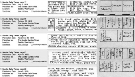 """A few of the """"key-word"""" choices for the Jackson Apt. appearing in the Seattle Public Library's web page opportunity to search The Times from 1900 to 1984.  Beside it is a detail of the block from a 1925 commercial map."""
