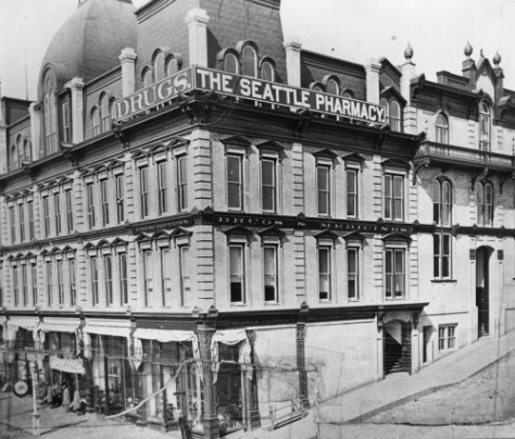 One of our stock subjects - which is you may have been it before.  The Frye Opera House at the Northeast corner of Marion and Front (First Ave.) ca. 1886).
