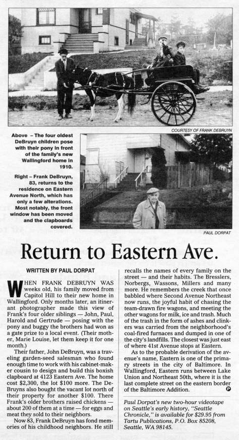 A story shared by Frank DeBruyn my once energetic neighbor, now passed.  This feature first appeared in Pacific on Nov. 15, 1992.