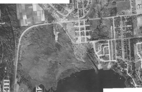 The Town of Yesler neighborhood in the 1929 aerial photo survey.  (Courtesy, Ron Edge and the Seattle Municipal Archive)