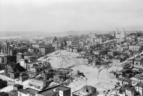 Much of the same neighborhood, this time from the nearly new Smith Tower, ca. 1914.  The terrace block that once held the Rainier Hotel is just left-of-center.