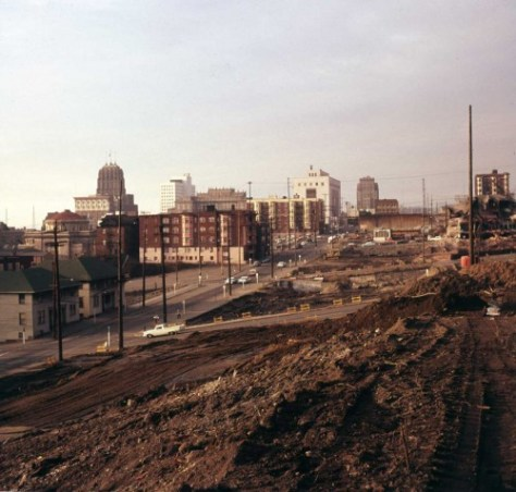 Another of Frank Shaw's freeway coverage.  This from Jan. 1, 1963 looking north from Jefferson Street.