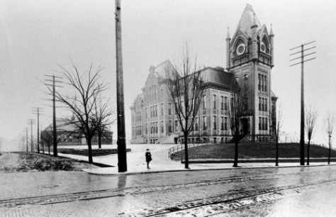 Central School looking south from 7th and Madison.  The stand alone smaller school structure on the left, survived the razing of the towered school.  We have two late looks at it below by Frank Shaw.