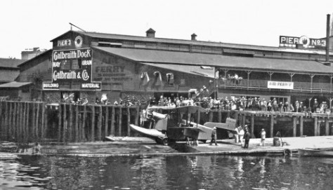 The Gorst Air Ferry at its dock in a slip shared with the fire department's fire boats.