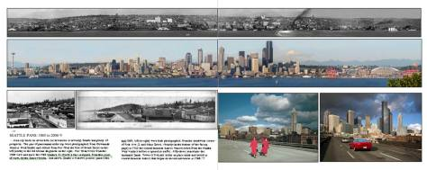 "A mock-up for Jean's and my book Washington Then and Now.  We once had and perhaps still have a webpage floating the the ""cloud"" that compared three early pans from the same Duwamish Head prospect that could be edifyingly compared to one of Jean's repeats.  We still do.  Open http://www.washingtonthenandnow.com/"