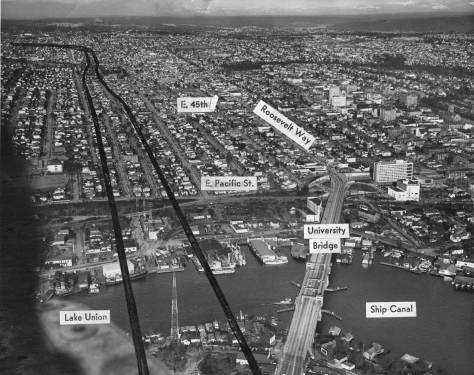 "Marking the I-5 freeway route.  Note that both the Wayland Mill - future site of Ivar's Salmon House - and the Northlake Hotel - future site of the Salmon House parking - can be found above the ""Lake Union"" tag, bottom left."