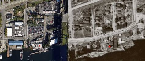 With the help of the 1936 aerial mapping survey on the right, and a ca. 2012 satellite shot of the same acres, we can compae the changes to the Salmon House - and its parking - site and its neighbors.  The freeway bridge is far-right in the ca.2012 view.
