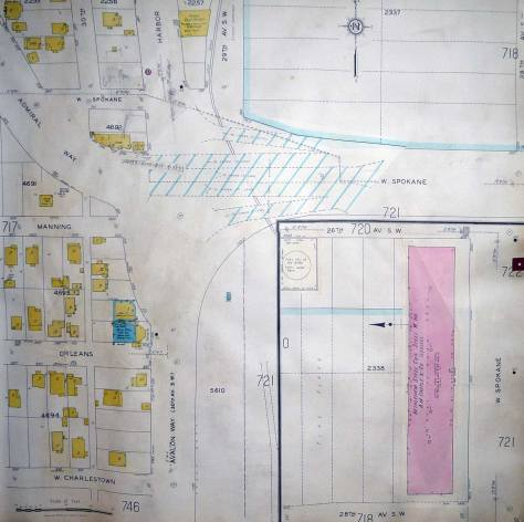 Blue lines, upper-left, on this ca. 1931 Sandborn Real Estate Map, mark the construction site on the Spokane-Avalon-Harbor-Admiral interchange.