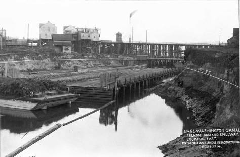 A record of the spillway from the Queen Anne side, with lines drawn indicating the expected level of the canal once the locks are closed and the canal is flooded.  [Courtesy, Army Corps]